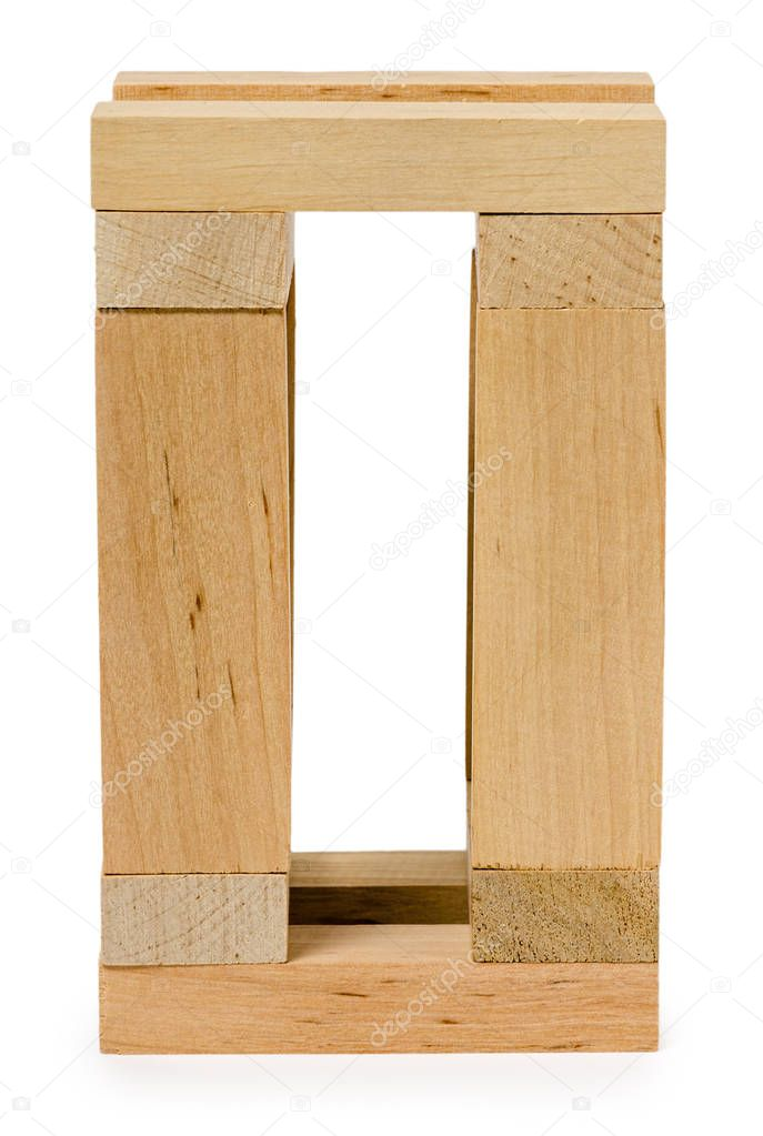 structure of wooden bricks, looks like house — Stock Photo