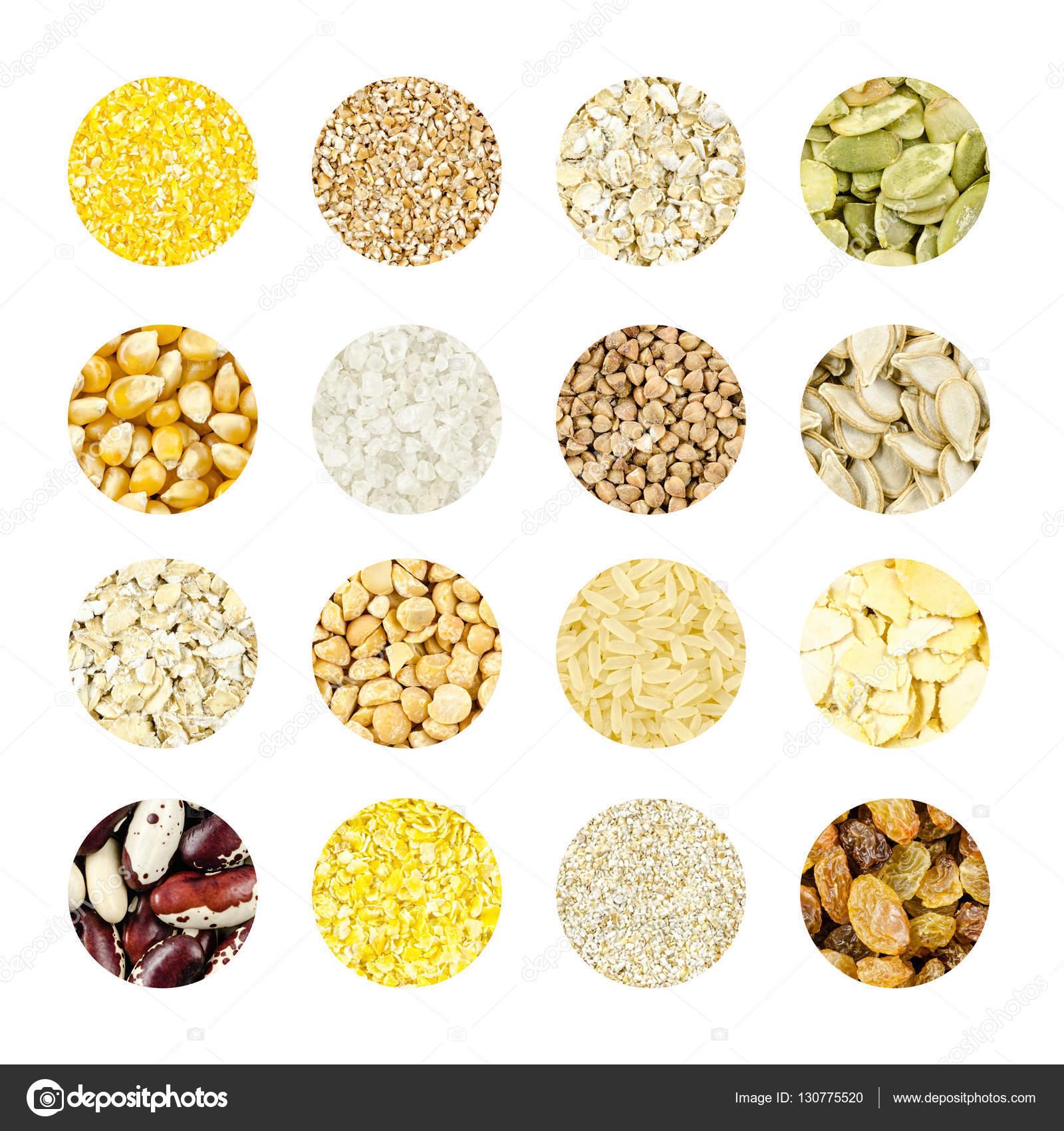 collage de diferentes granos y semillas para una dieta saludable ...
