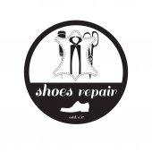 Photo vector image of logo of shoe repair services. Concept for workshop repair