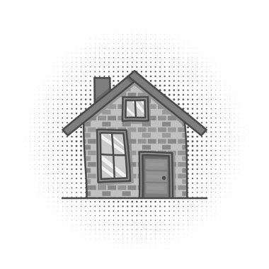 Black and white cartoon vintage facade, hand drawn building, doodle home. Isolated on white