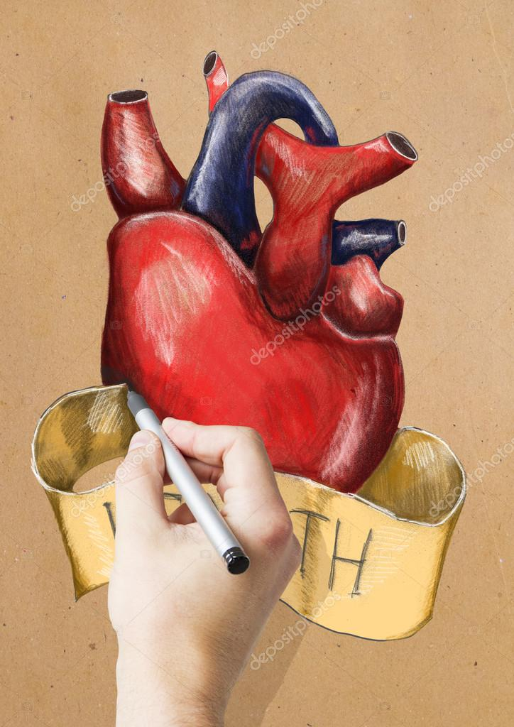 Hand drawing realistic heart sketch on light background