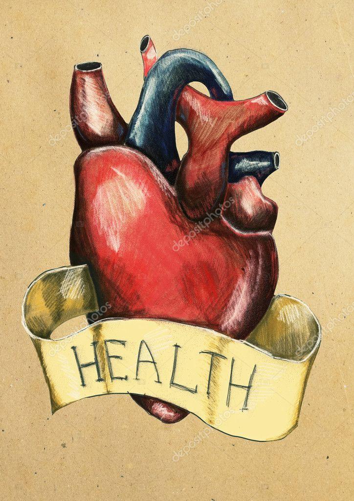 Dibujo Realista De Corazón Sobre Fondo Claro Concepto De Salud