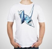 Man with origami on shirt