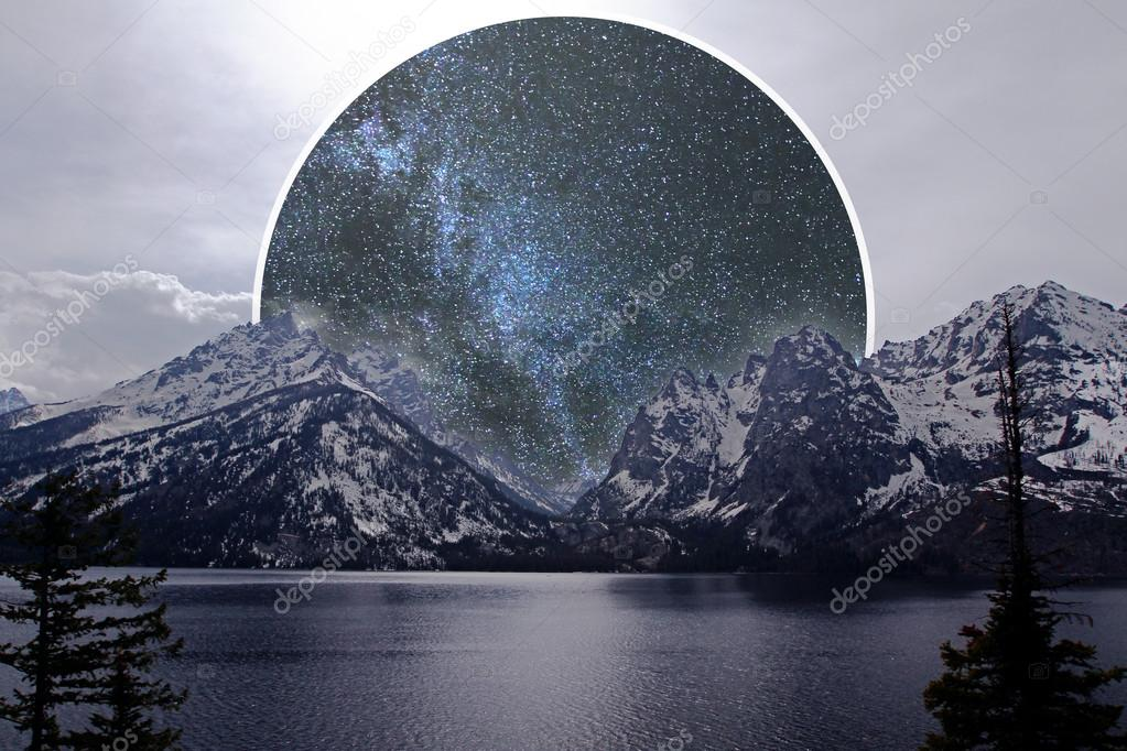 Image of landscape with lake, mountains and abstract space moon