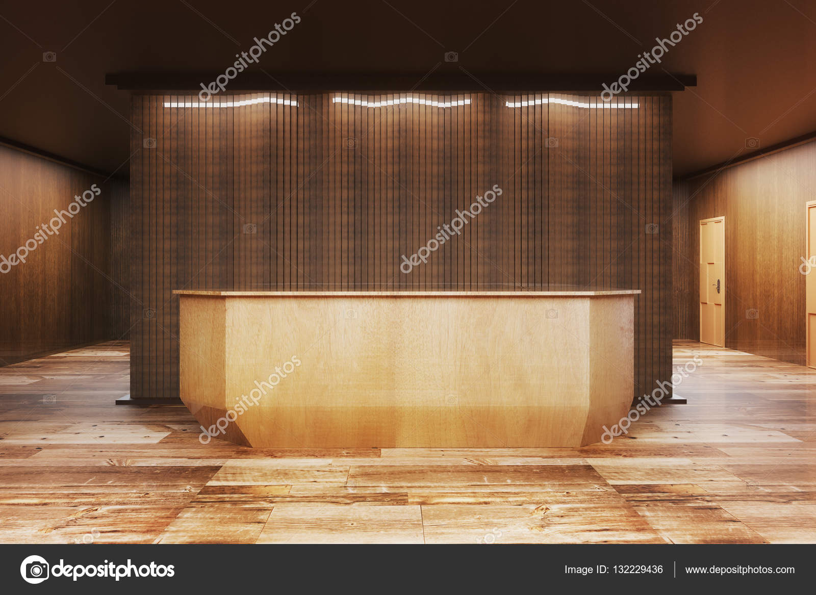 Modern Reception Desk Front Stock Photo