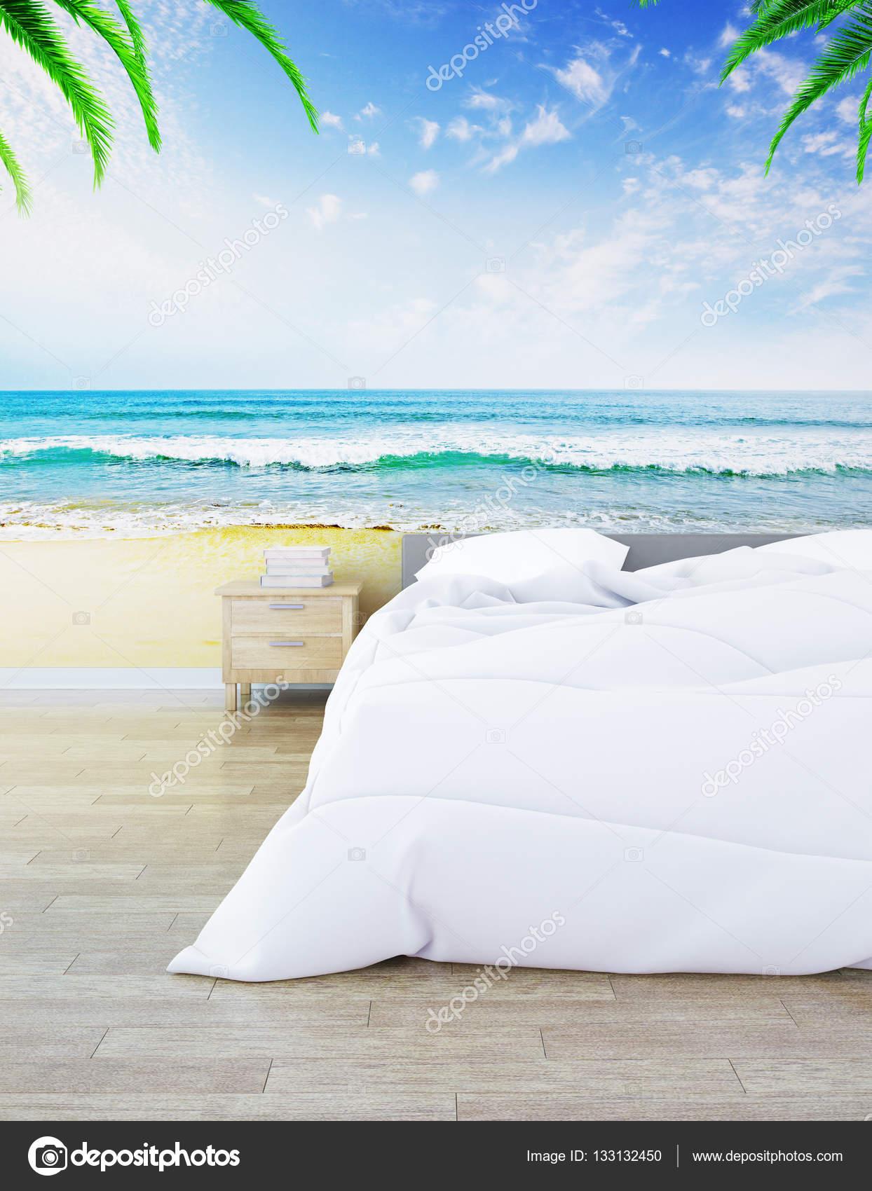 Kreative Hipster Schlafzimmer Mit Parkettboden Und Riesigen Strand Bild An  Wand Innenraum. 3D Rendering U2014 Foto Von Peshkov