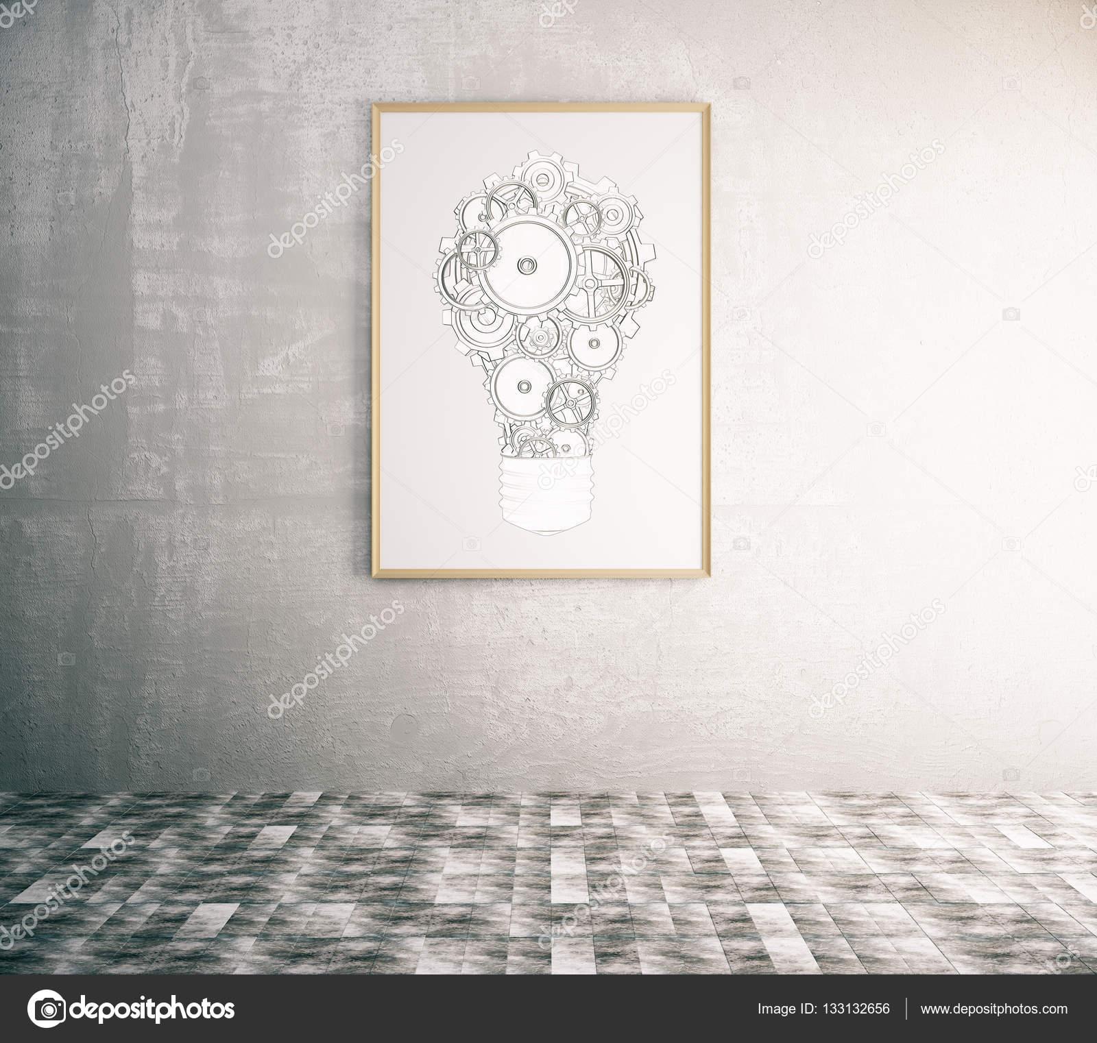 Konkrete Einrichtung mit kreativen Getriebe Lampe in Bilderrahmen ...