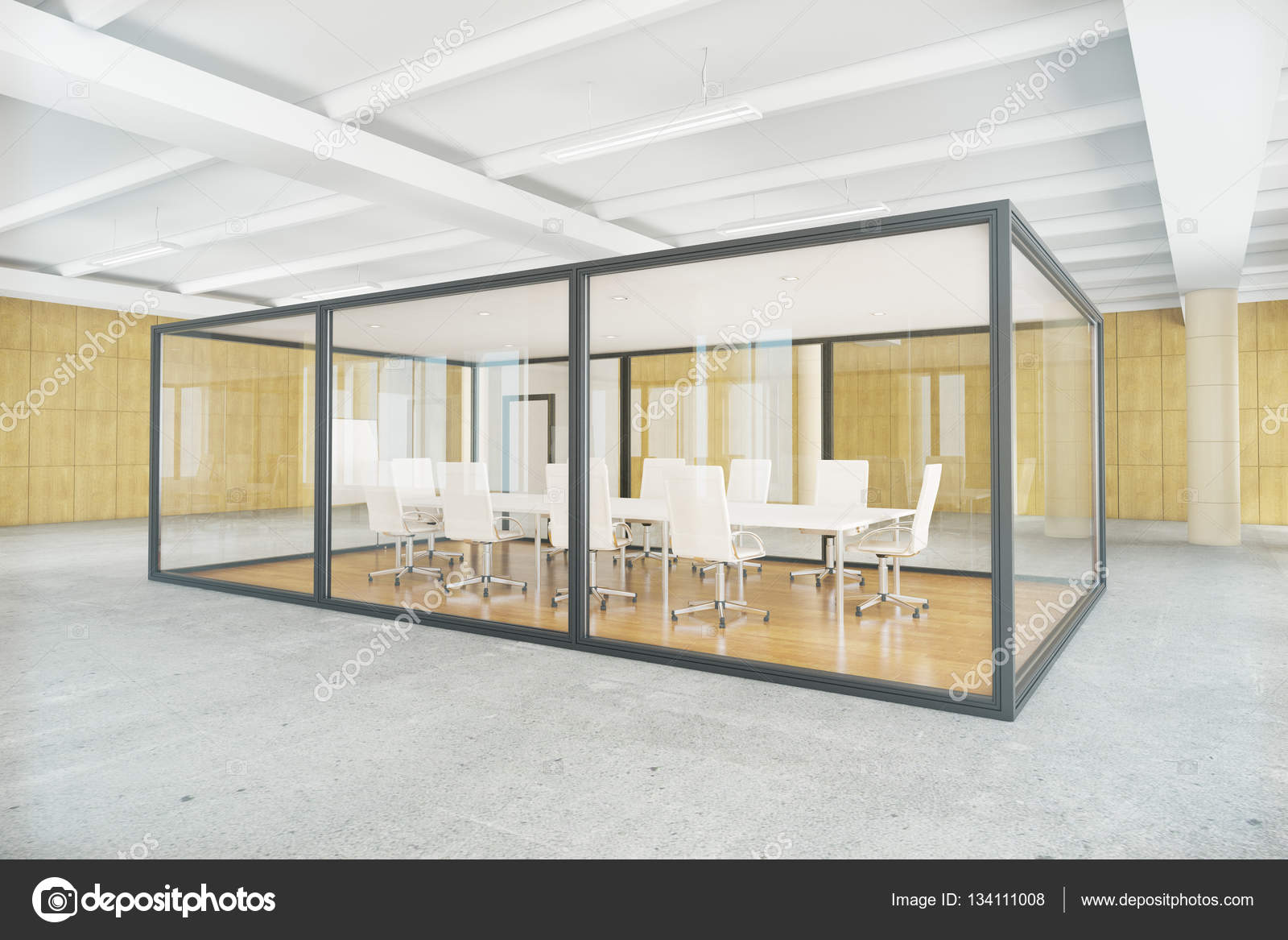 Modern conference room inside glass box contemporary business environment side view 3d rendering photo by peshkov