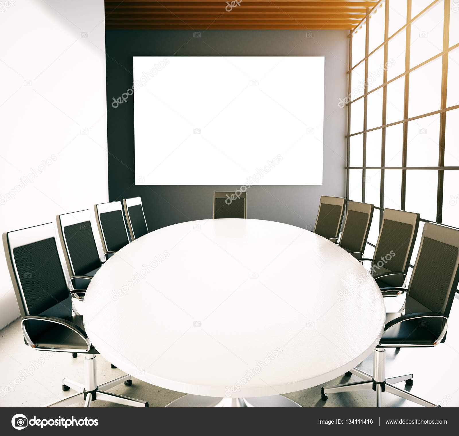 Conference Room With Empty Whiteboard Stock Photo Peshkov - Whiteboard conference table