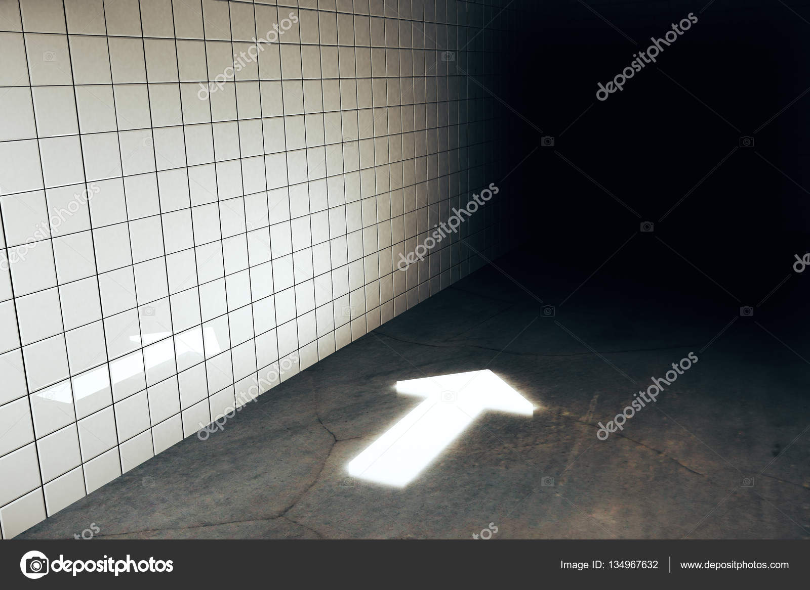 Abstract illuminated arrow in grungy tile wall and concrete floor abstract illuminated arrow in grungy tile wall and concrete floor interior direction concept 3d rendering photo by peshkov dailygadgetfo Choice Image