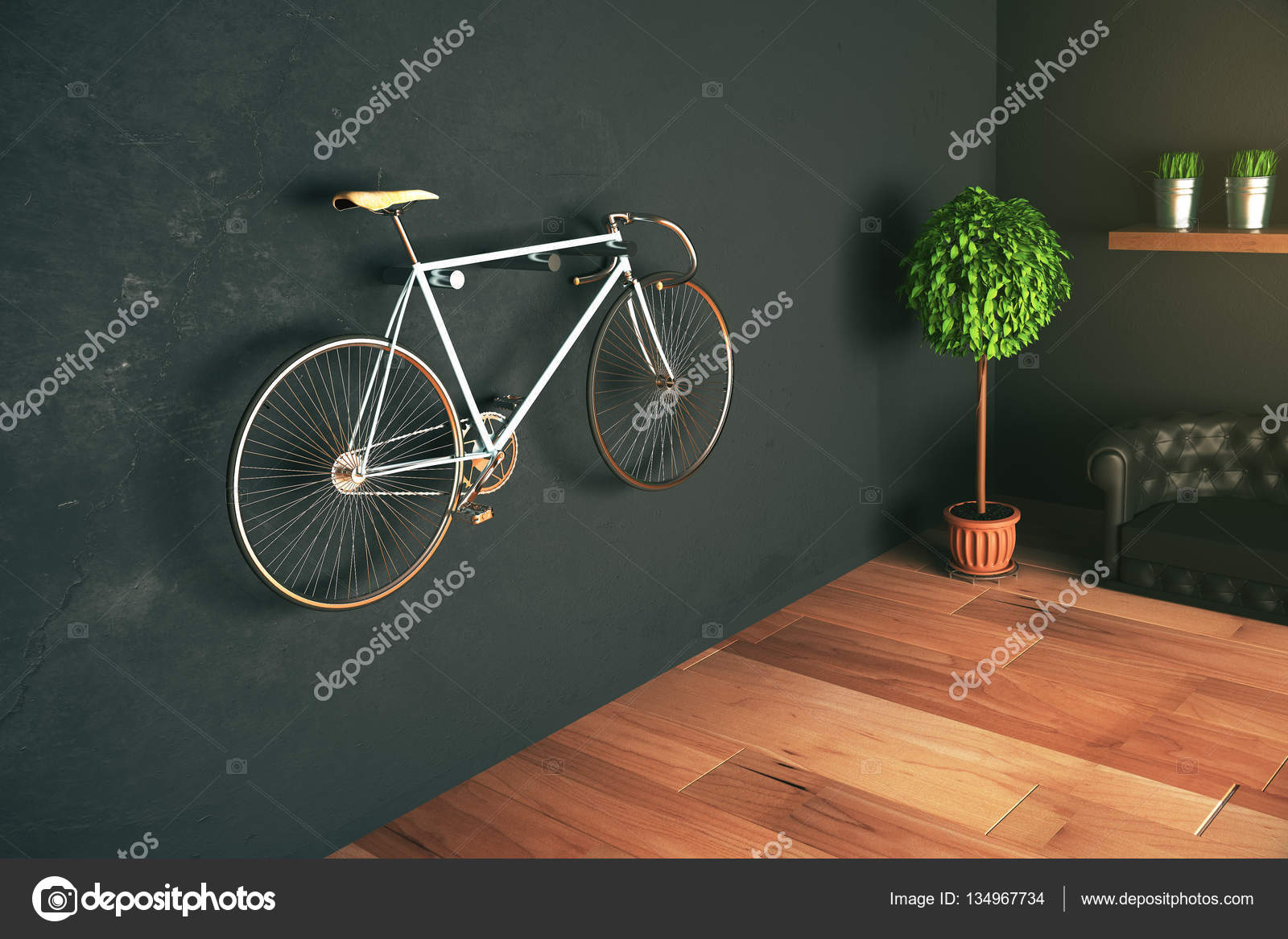 fahrrad an der wand h ngen stockfoto peshkov 134967734. Black Bedroom Furniture Sets. Home Design Ideas