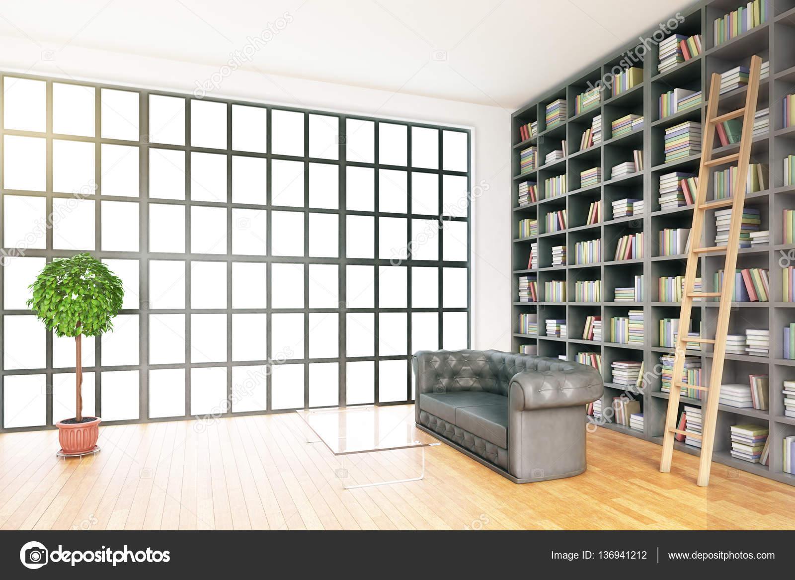 Seitenansicht Der Modernen Bibliothek Innenraum Mit Ausrüstung Und Ohne  Aussicht. 3D Rendering U2014 Foto Von Peshkov