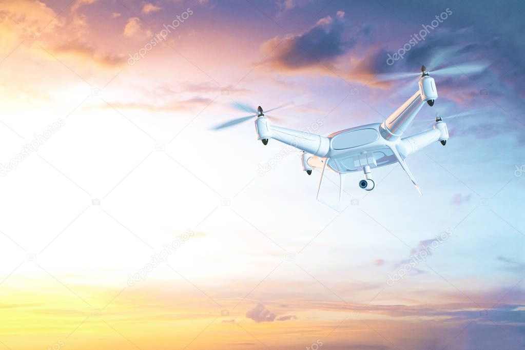 Hovering drone with camera in clear sky. Surveillance concept. 3D Rendering