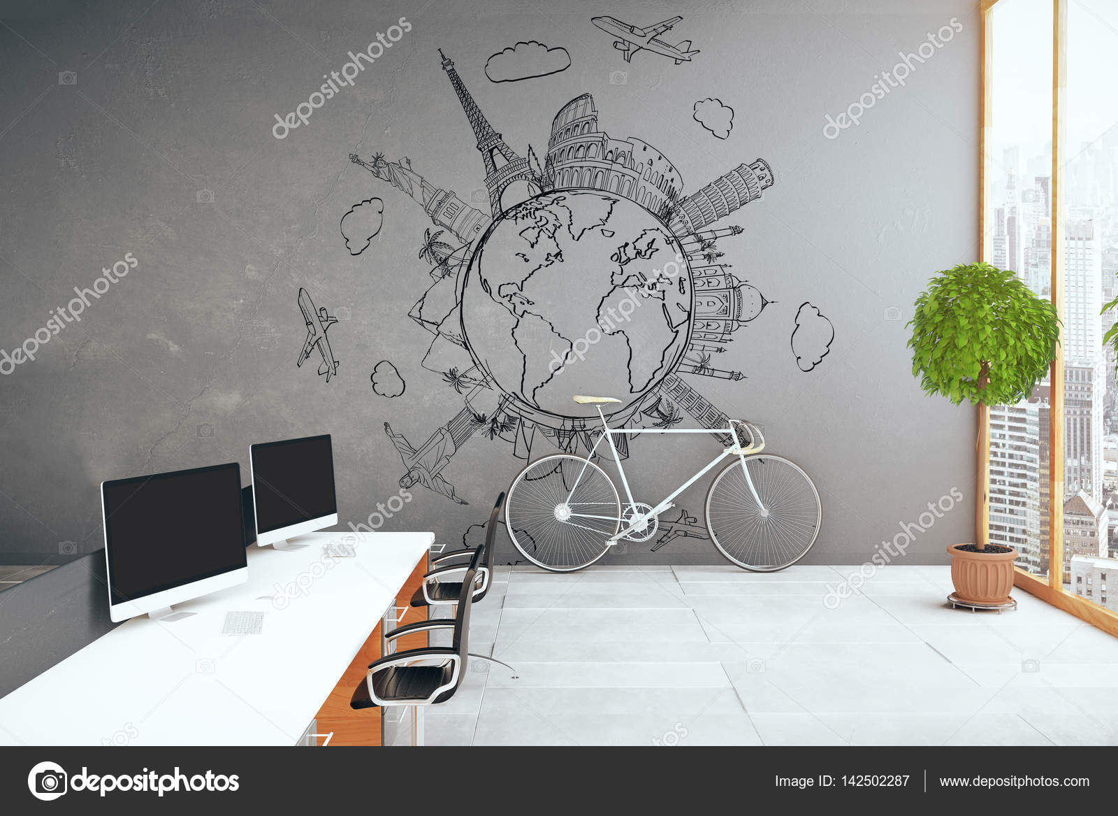 Side view of creative modern office with equipment, traveling sketch on concrete wall, bike, city view and decorative plant. Travel agency concept.