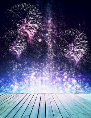 Abstract sparkly stage with fireworks. Celebration concept