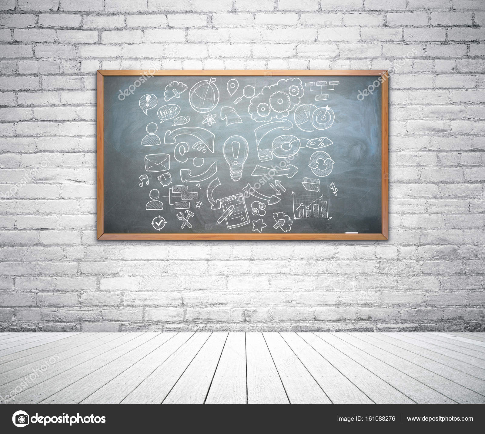 Framed chalkboard with creative business sketch in bright interior ...