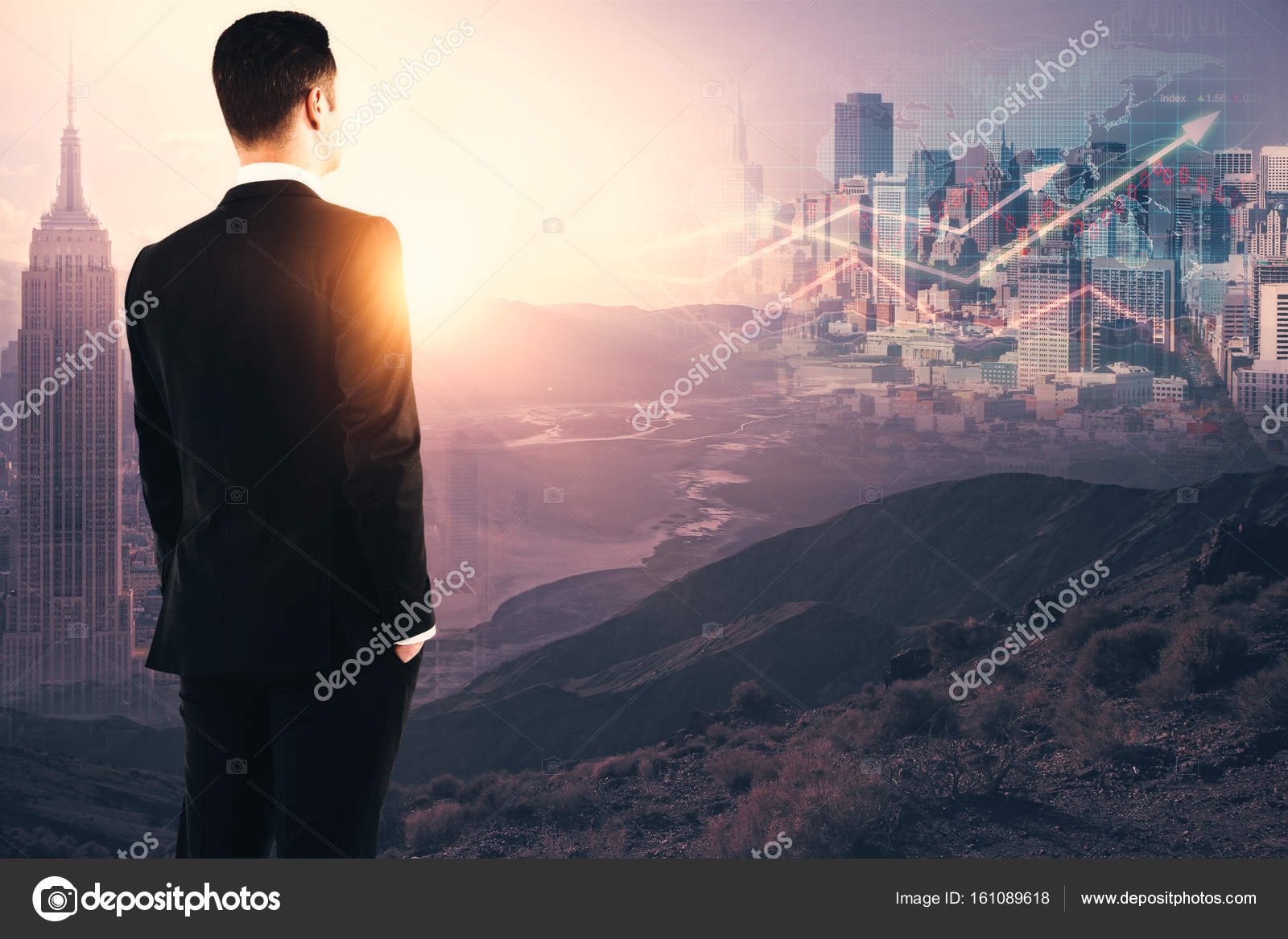 Vista lateral de joven empresario mirando la luz del sol y resumen ...