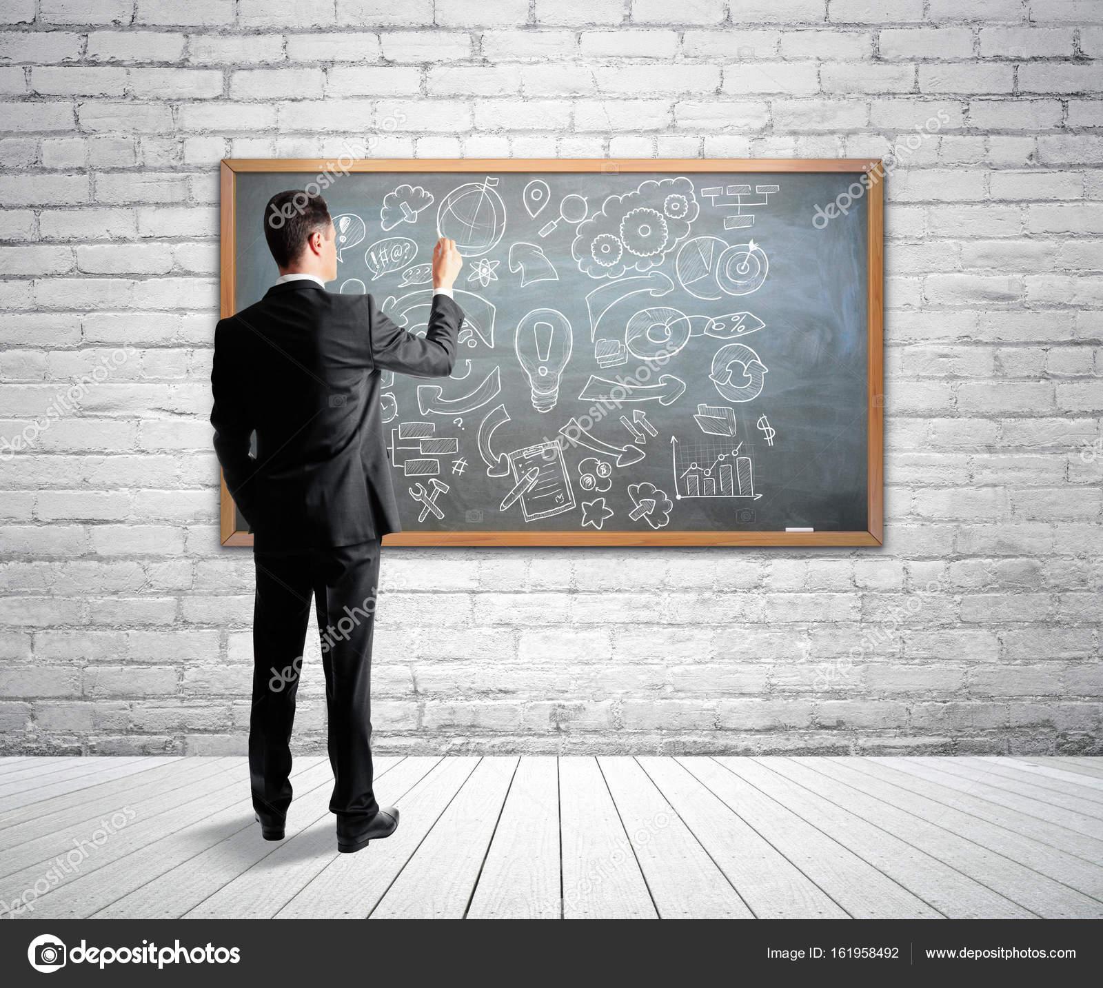 사업가 드로잉 비즈니스 흰색 벽돌 벽과 나무 바닥 밝은 ...