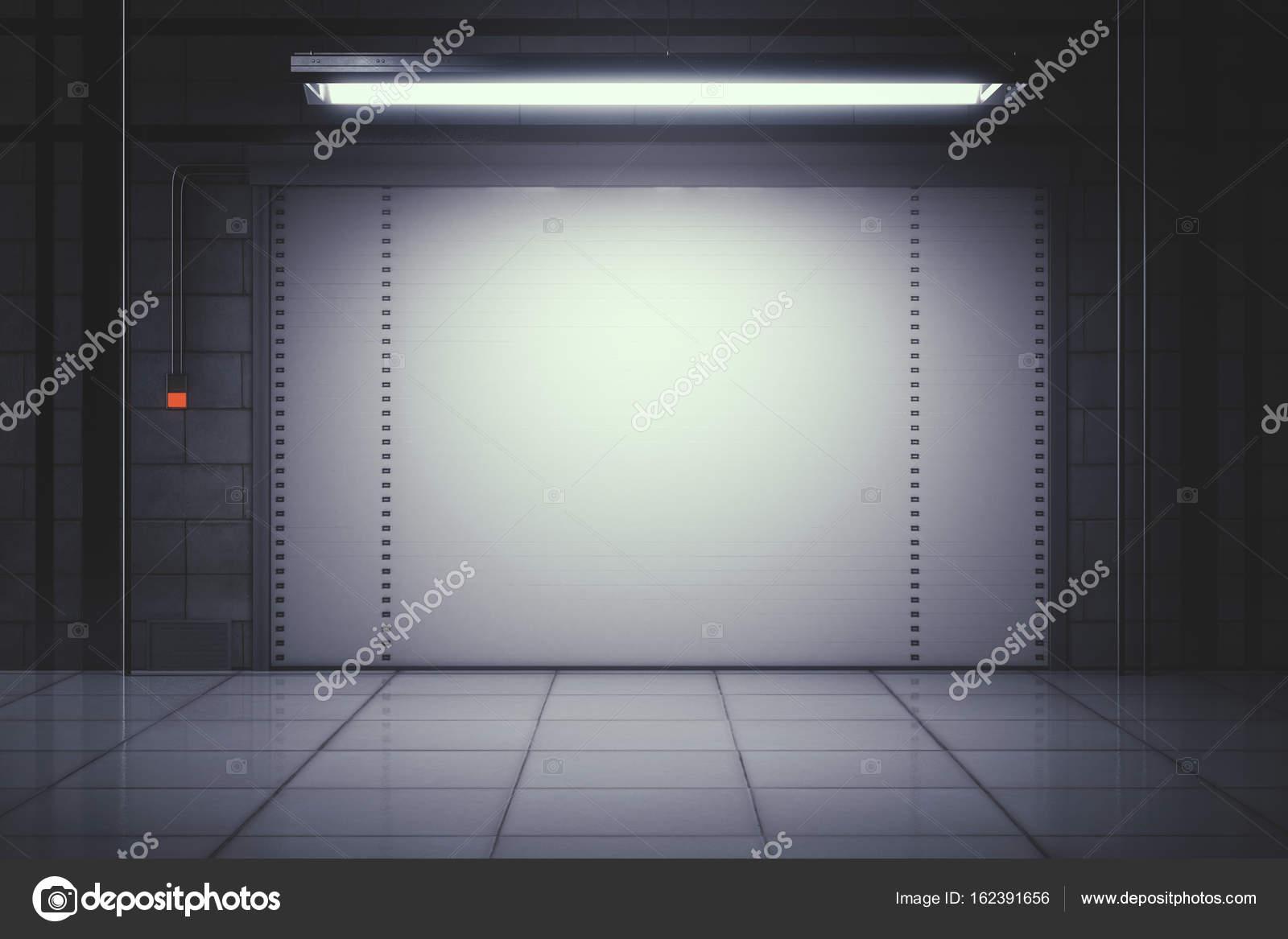 Piastrelle moderne interni con porta del garage chiusa illuminata
