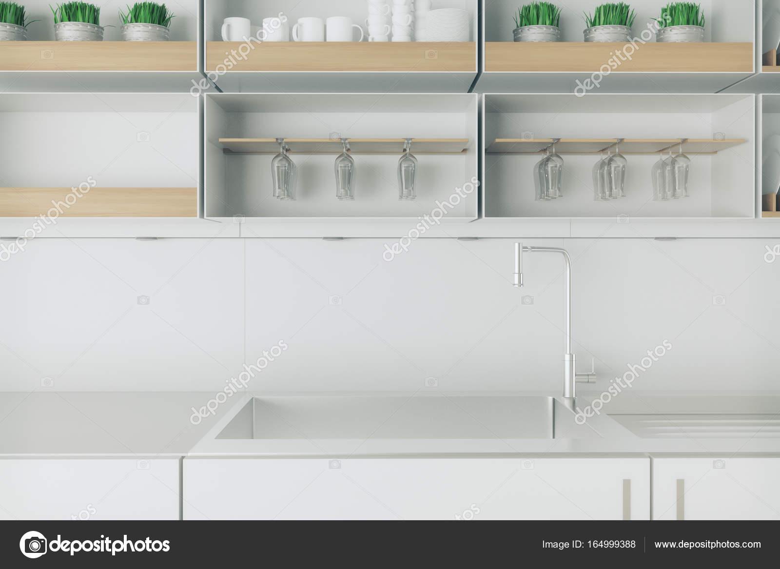 Saubere helle Küche Zähler closeup — Stockfoto © peshkov #164999388