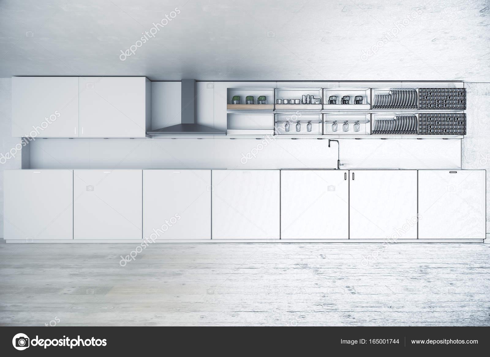 Progetto cucina incompiuto. Concetto di design. rendering 3D — Foto ...