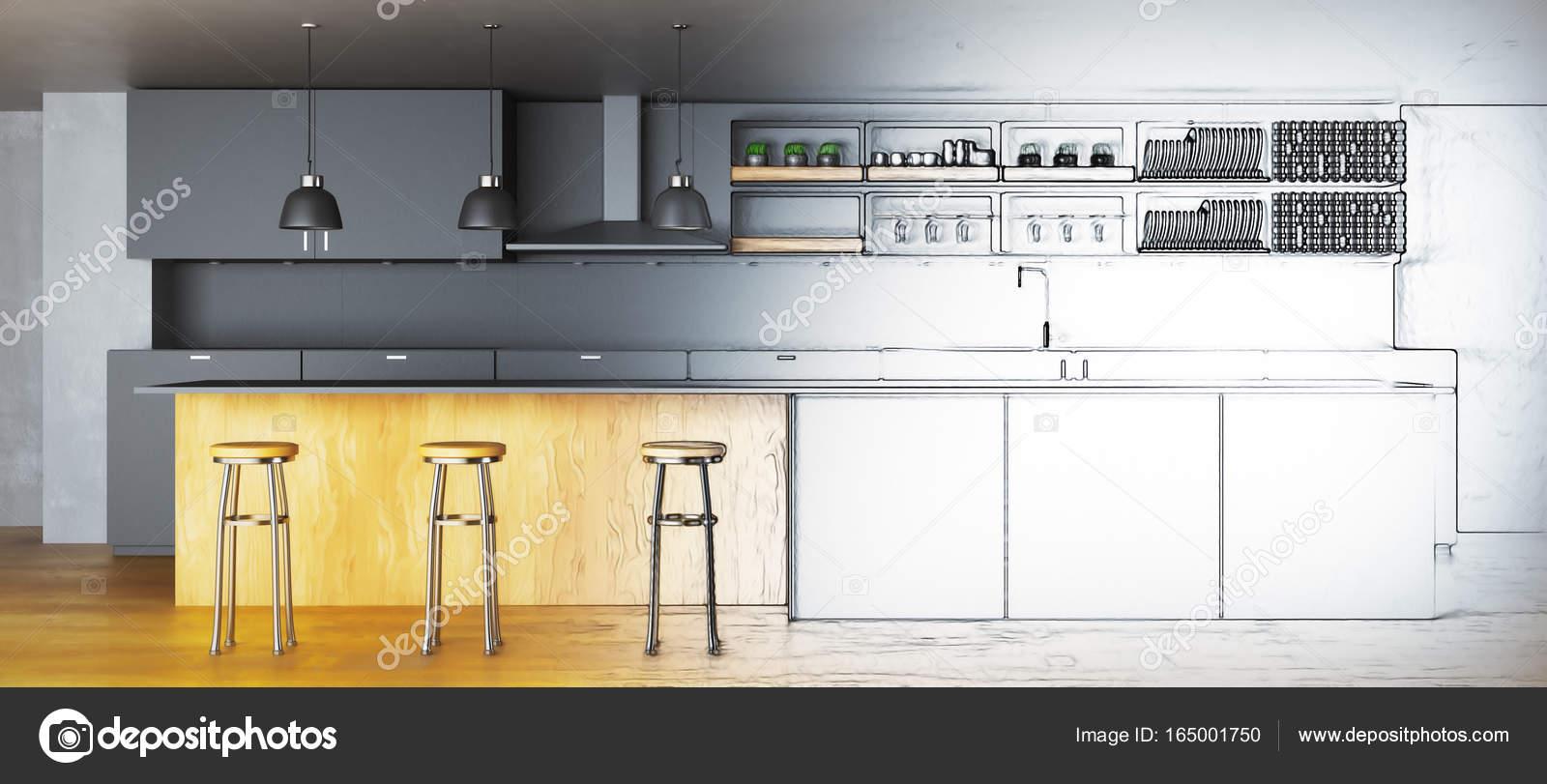 Progetto cucina incompiuto. Concetto di architettura. rendering 3D ...
