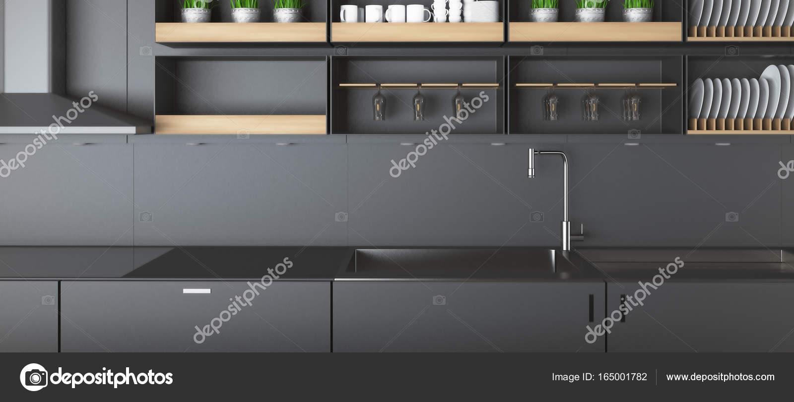 Dunkle Küche   Moderne Dunkle Kuche Zahler Closeup Stockfoto C Peshkov 165001782