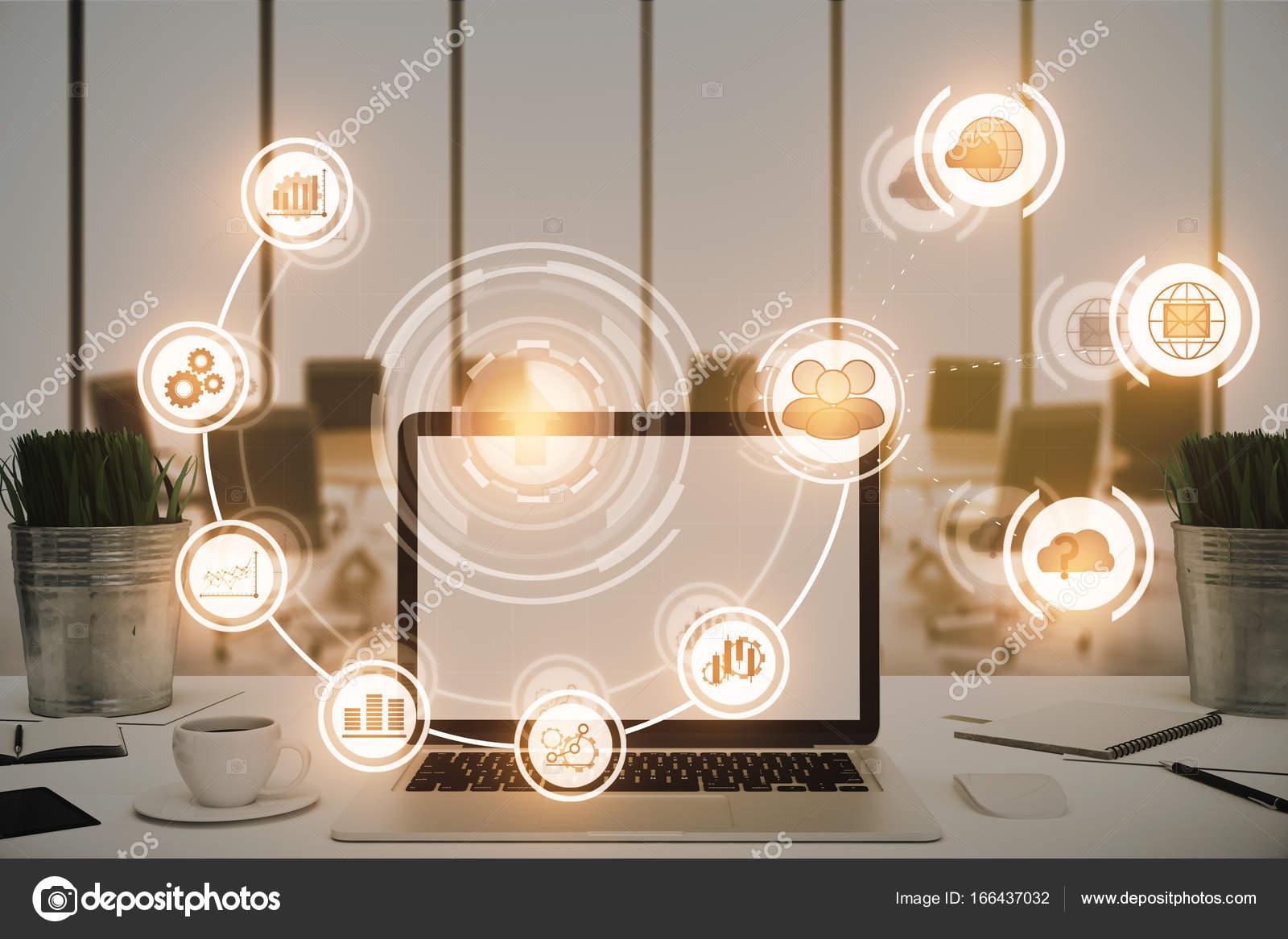 Nahaufnahme Des Buro Desktop Mit Laptop Und Digitalgeschaft