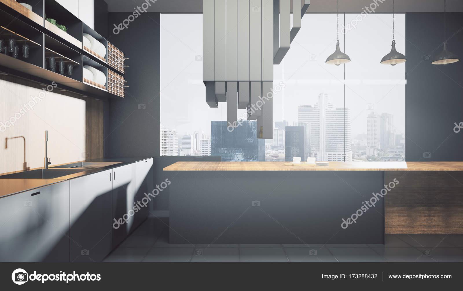 Zeitgenössische dunkle Küche Interieur — Stockfoto © peshkov #173288432