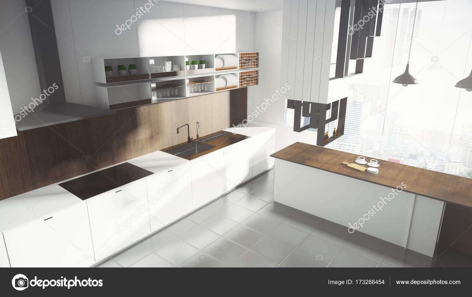 Moderne witte keuken interieur u stockfoto peshkov