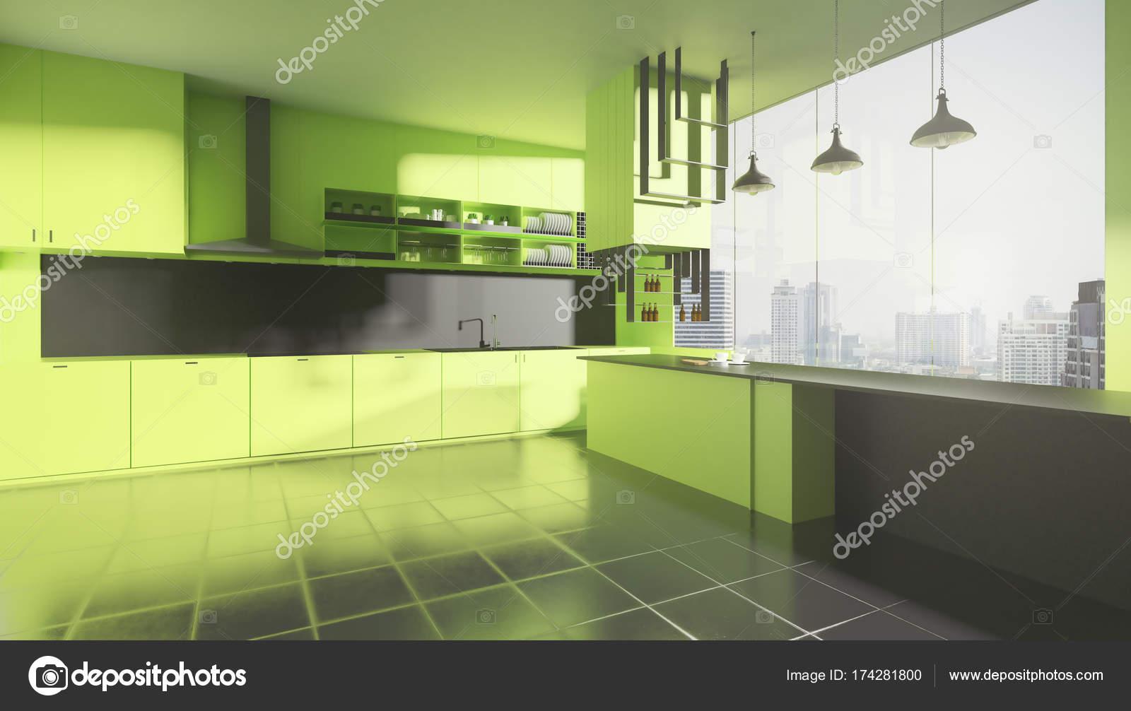 Interni Moderni Cucine : Interni moderni cucina verde u2014 foto stock © peshkov #174281800