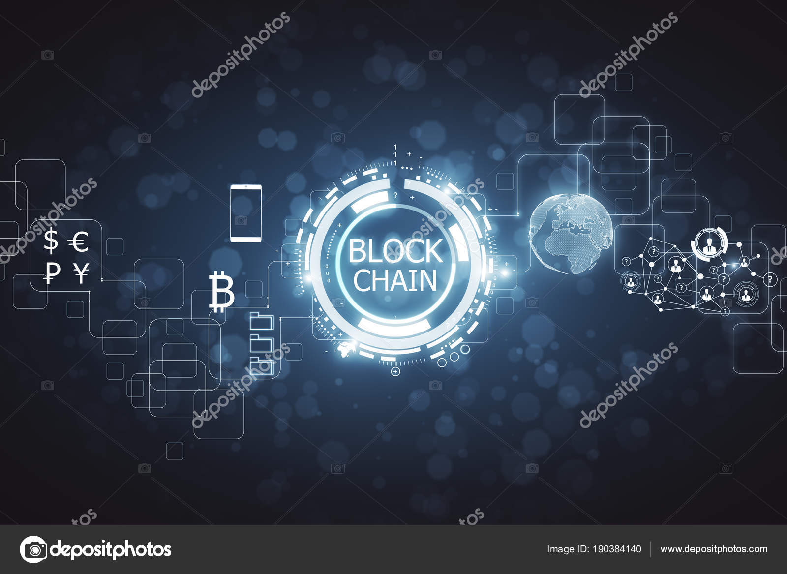 Abstract Blockchain Wallpaper Stock Photo