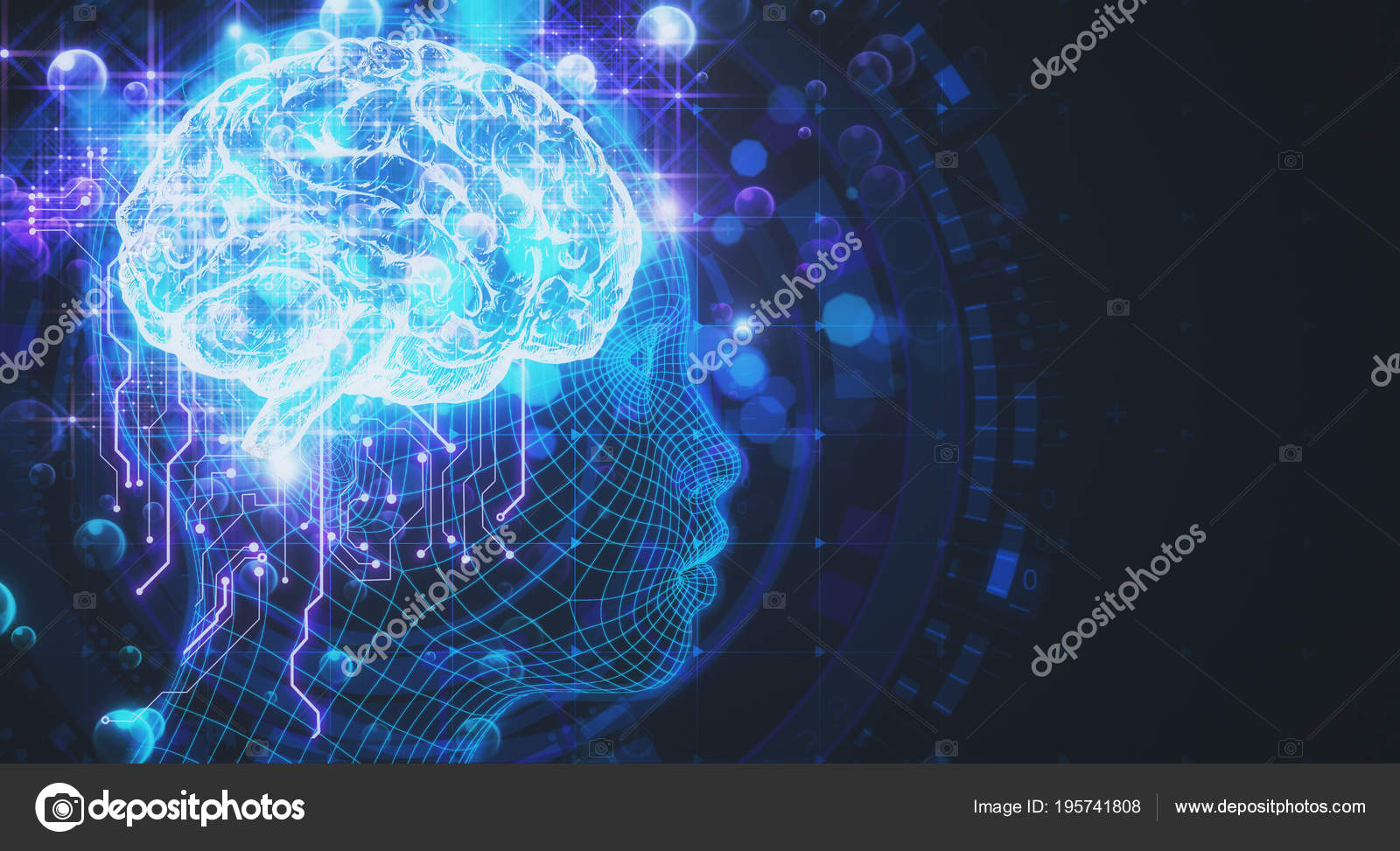 Science Artificial Intelligence And Robotics Background Stock