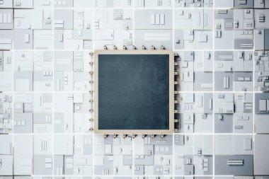 Black computer microchip on dark motherboard. Hardware and engineering concept. Mock up, 3D Rendering