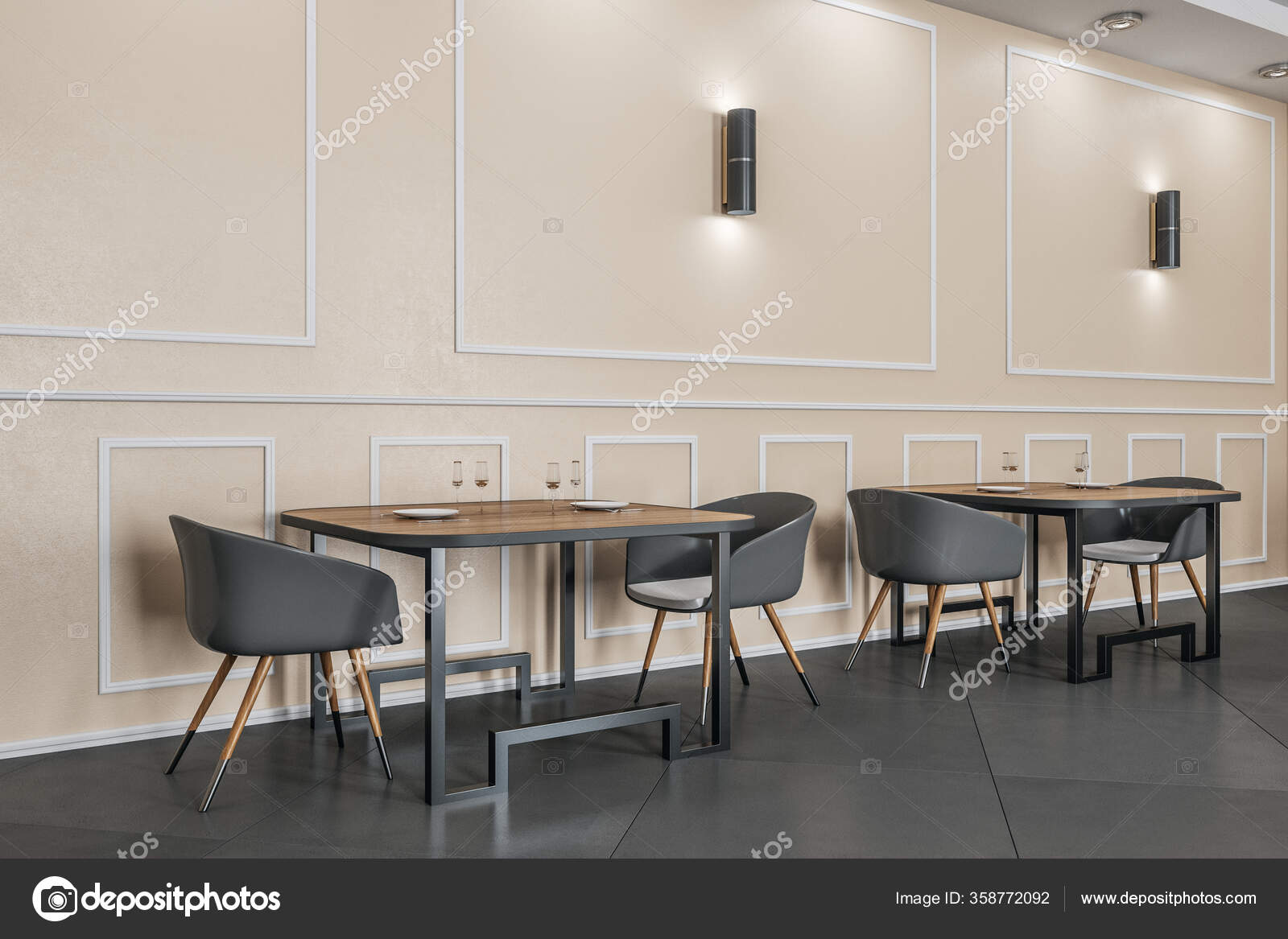 Minimalistic Cafe Room Dishware Copy Space Wall Cafe Restaurant Concept Stock Photo C Peshkov 358772092