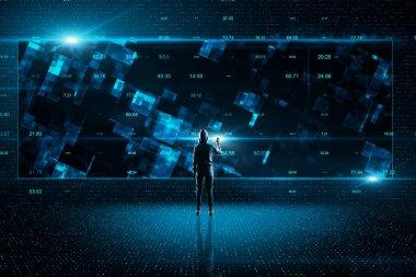 Hacker using creative glowing stock data hud. Malware and futuristic concept.