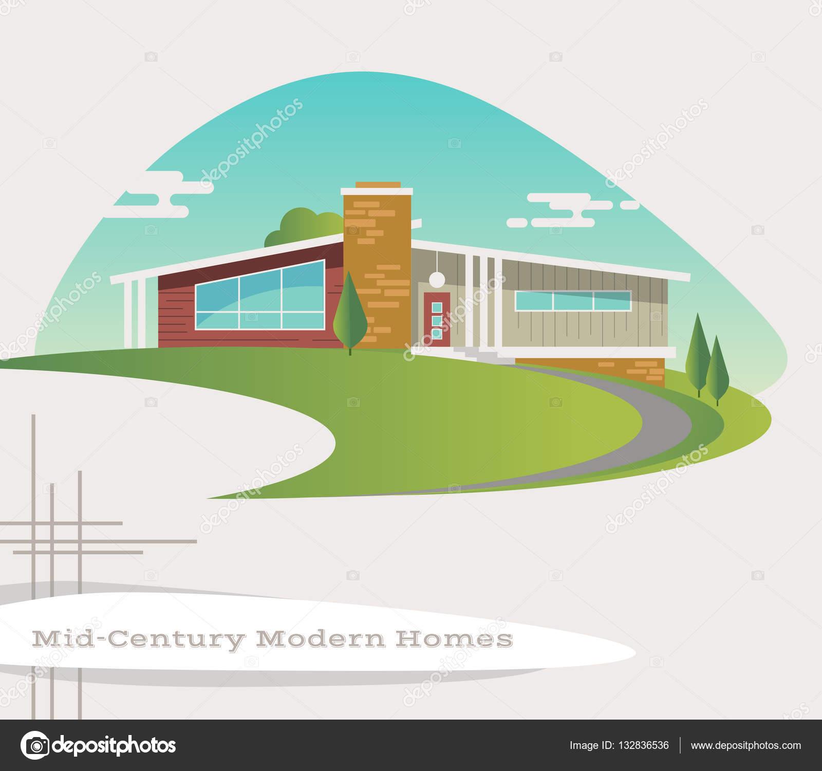 Mid century modern style house. retro vector illustration ...