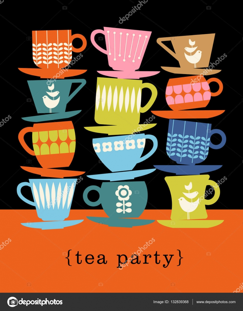 Colorful Retro Illustration With Stacks Of Tea Cups For Poster