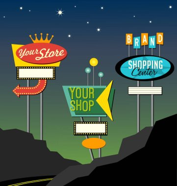 set of retro lighted roadside signs. Edit for your design.