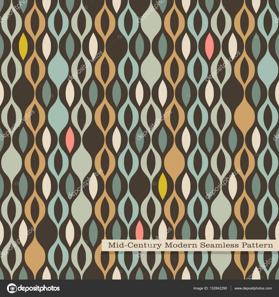 Nahtlose Retro Muster In Der Mitte Des Jahrhunderts Modernen Stil.  Abstrakte Wellenförmigen Streifen In