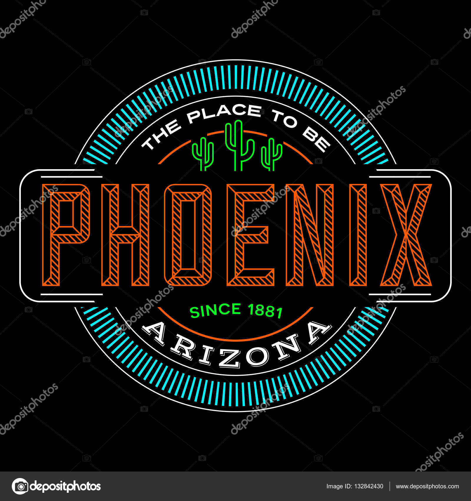 Phoenix Arizona Linear Logo Design For T Shirts And Stickers
