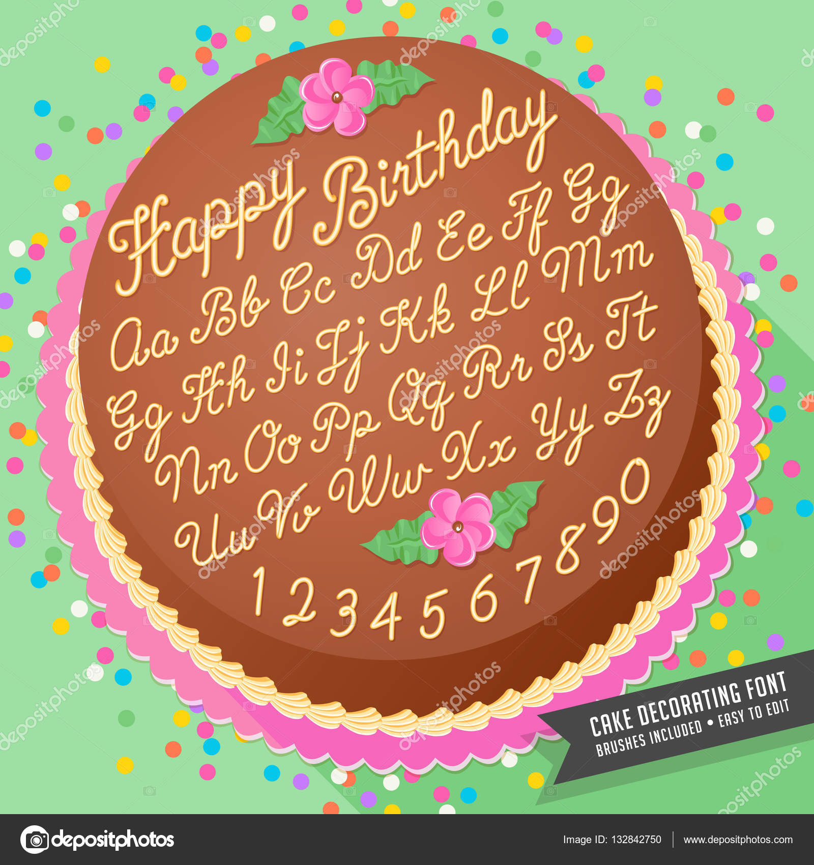 Gradient Free Vector Cake Decorating Icing Font With Birthday Cake