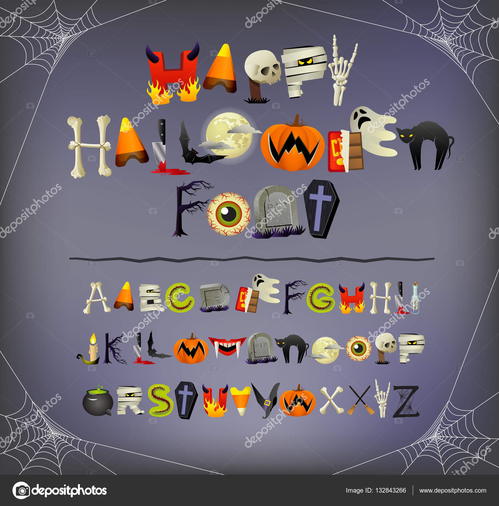 Halloween font alphabet illustrated with halloween icons and