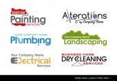 Set di loghi loghi per vari servizi. impianto idrauliche, elettriche, alterazioni, paesaggio, pittura e pulitura a secco
