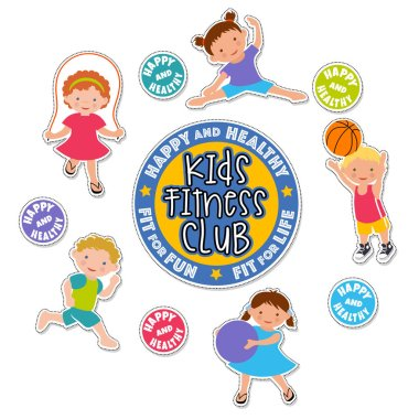 Active children playing sports. caucasian kids fitness stickers.