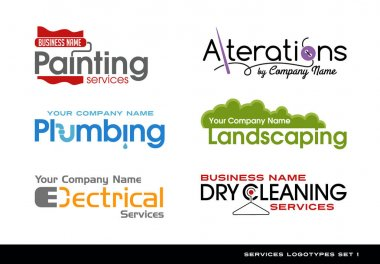 Set of logos logotypes for various services. plumbing, electrical, alterations, landscaping, painting and dry cleaning. clip art vector