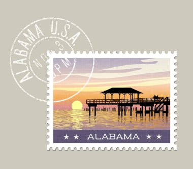 Alabama vector illustration of gulf coast with fishing pier.