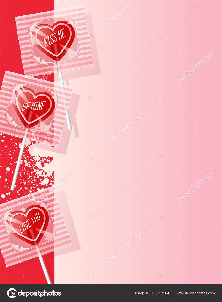 Corazón San Valentín rojo en forma de paletas en fondo rosa ...