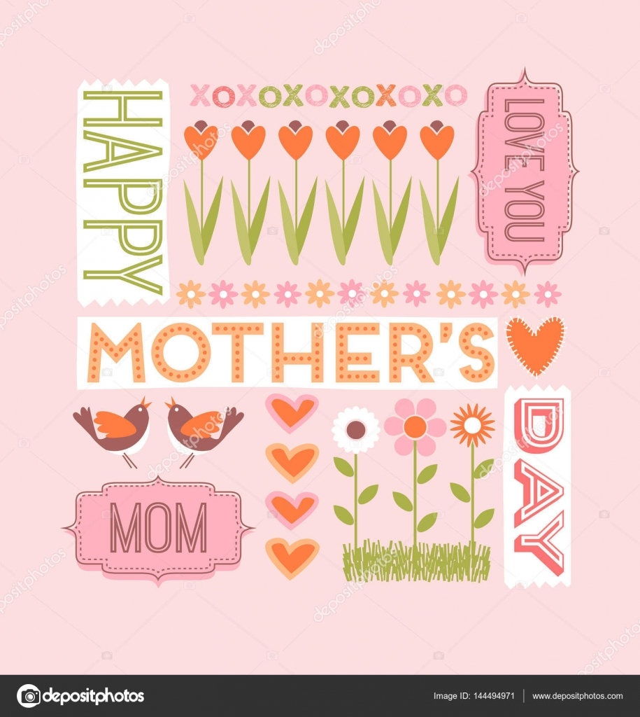 Mothers day greeting card collage of words flowers hearts and mothers day greeting card collage of words flowers hearts and birds vector by teddyandmia m4hsunfo