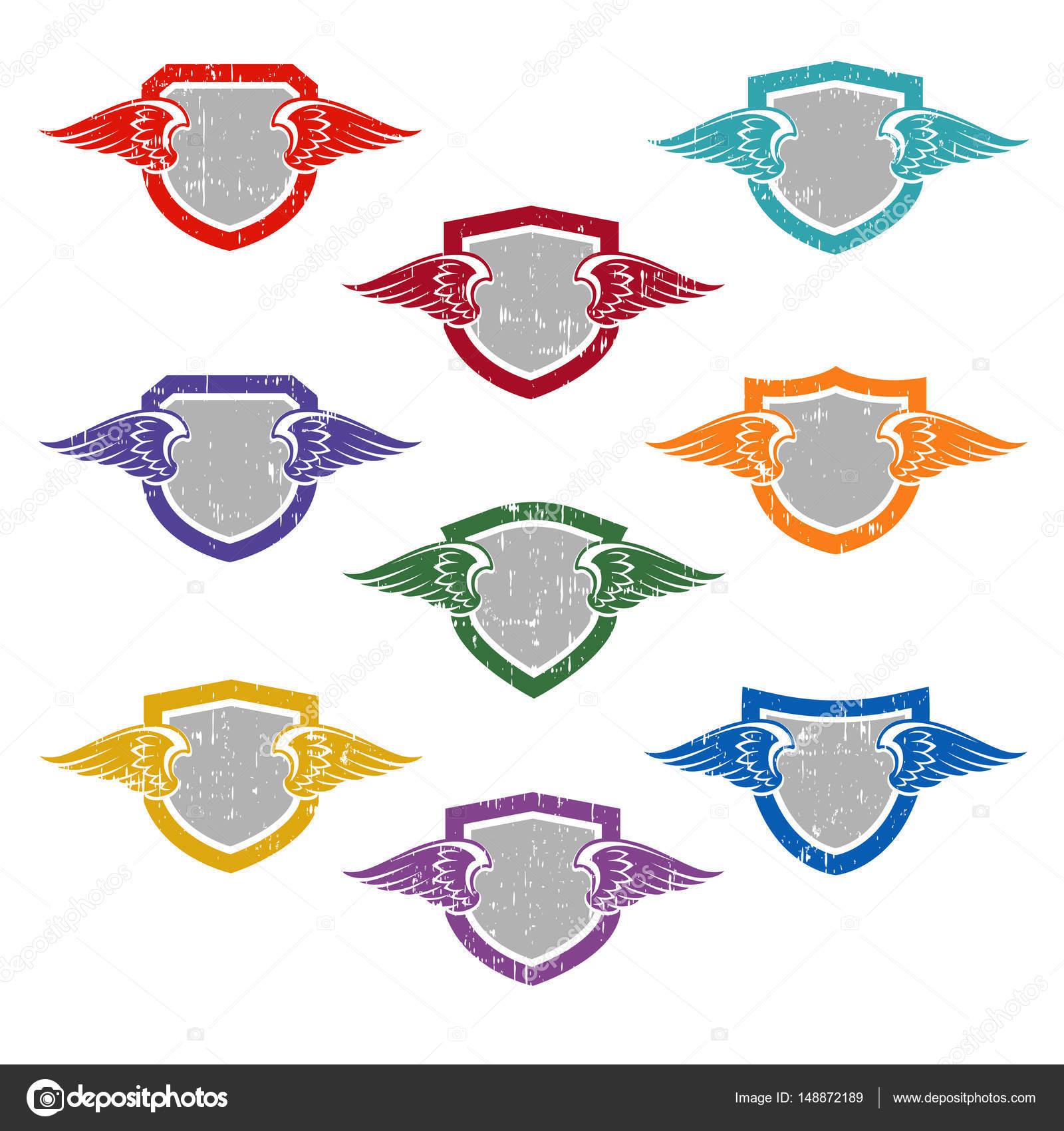 Set de escudos con alas para dise o de logotipo camisetas